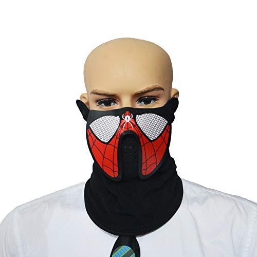 EL Voice-Aktivierte Licht Maske LED Sound Control Nacht Reitmaske Für Halloween Party Bar Kostüm Dekoration Cosplay-Spiderman (Spiderman Licht Kostüm)