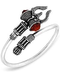 MEENAZ Rudraksha Trishul Damroo Designer Oxidized Silver Bahubali Kada Kadas Bracelet Unisex Rakhi Cuff Bracelets for Men & Women Brother Boys Bracelet-M110