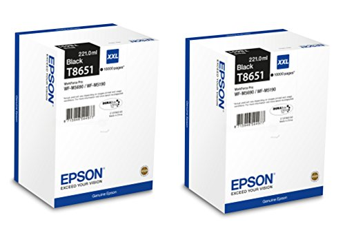 Preisvergleich Produktbild 2x Original Epson XL Tintenpatrone T8651 T 8651 für Epson Workforce Pro WF M 5690 DWF - BLACK - Leistung: ca. 10000 Seiten/5%