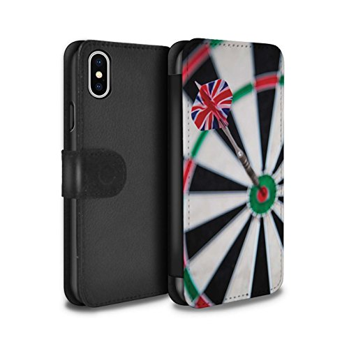 Stuff4 Coque/Etui/Housse Cuir PU Case/Cover pour Apple iPhone X/10 / Bull/Bullseye Design / Fléchettes Photo Collection Vol de Fléchette