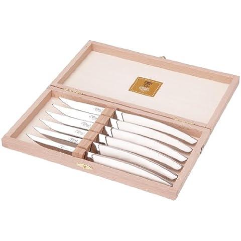 Claude Dozorme 2.90.001.91 6 coltelli da bistecca Thiers scatola completamente lucido realizzato in legno di (Acciaio Inossidabile Lama Manico In Legno)