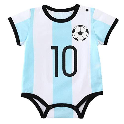 Unisex Baby Body Kurzarm Bio Baumwolle Fußball Spieler Baby Overall Strampler Onesie Unisex Cartoon Baby Strampelanzug (1 Blue,66cm) (Spieler Kostüm Fußball Mädchen)