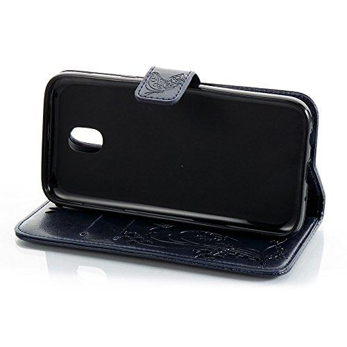EKINHUI Case Cover Solid Color Faux Leder Bookstyle Brieftasche Stand Case mit geprägten Blumen & Lanyard & Card Slots für Samsung Galaxy J5 2017 European Edition ( Color : Blue ) Darkblue