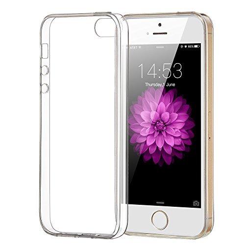 ELZO iPhone 5/5S/SE Hülle, [Kristall] Klar Ultra dünn Handy Schutzhülle/Abdeckung/Hülse/Schale, Durchsichtige Silikon TPU - Transparent/Schützend/Weich/Ultra Hybrid/Schock Absorption/Kratzfest