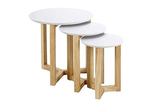 AC Design Furniture 0000046625 Jennie tables basses type gigogne avec plateau en bois blanc laqué et cadre en bois de chêne massif diamètre 50 cm, hauteur 50 cm