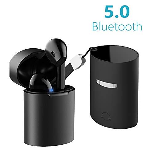 Cuffie bluetooth 5.0 / auricolare bluetooth stereo/mini auricolari senza fili/sportivo cordless con scatola di ricarica portatile/compatibile con tutti i dispositivi - nero