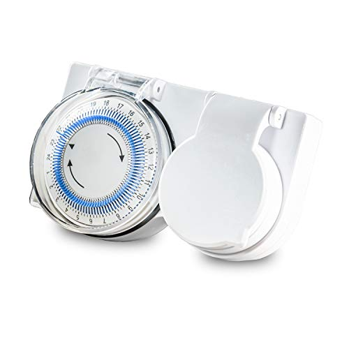 benon Zeitschaltuhr Mechanisch Outdoor - 96 Segmente (15 min) - Timer IP44 für Innen und Außen - Mit Kindersicherung - Steckdose max. 3680W
