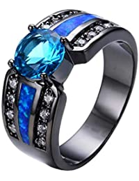 Peora 316L Stainless Steel Two Rows of Small Diamonds Middle Big Blue Stone Gold Ring for Men & Boys