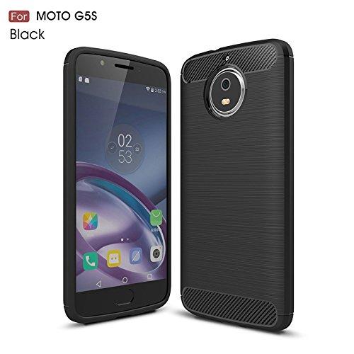 Carbonfaser Design Hülle für Moto G5S Hülle Komtable Griffigkeit Slim-Fit [Schutz vor Stößen] Weiches TPU-Gel Rutschfestes Gummi [Kratzfest] für Moto G5S Hülle (black)