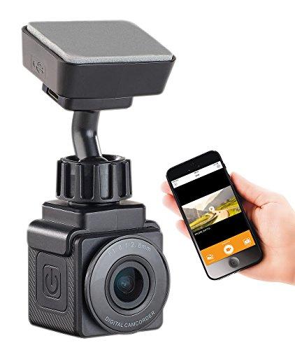 NavGear Dashcam ohne Kabel: WiFi-Mini-Dashcam, Full HD 1080p, G-Sensor, GPS, 155°-Weitwinkel, App (Mini Dashcam mit Akku)