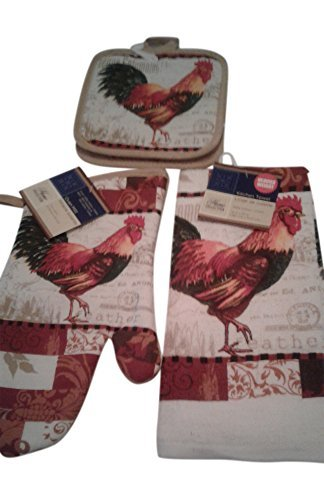 Home Collection Küche Leinen Set 5 Pc Rooster Thema Handtücher Hot Pads Ofen Mitt Le Rooster Set