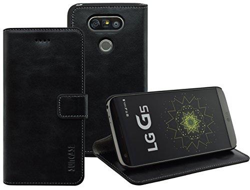 LG G5 | LG G5 SE | Suncase Book-Style (Slim-Fit) Ledertasche Leder Tasche Handytasche Schutzhülle Case Hülle (mit Standfunktion und Kartenfach) schwarz