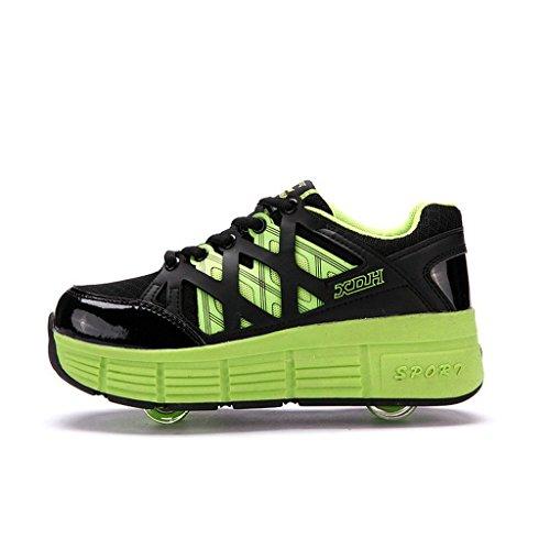 Patim-sapatos, Rolo Com Dobra, Adequado Para Rapazes E Raparigas Verde ((rodas Duplas)