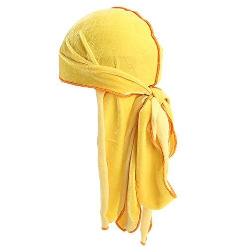 g Tail Gold Velvet Two-Tone Pirat Hut Baotou Hüfte Hop Umhang Unisex Hip Turban Cool Cap Hood Kopfbedeckung Samt Durag GreatestPAK,E ()