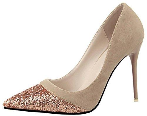 HooH Femmes Shiny Sequins Stiletto Mariage Escarpins 1132-13 Kaki
