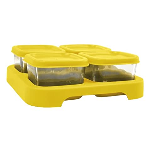 green sprouts Fresh Baby Food Glass Storage Cubes (60 ml, Yellow, Pack of 4)