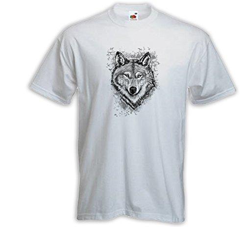 Animal T-Shirt Wolf 2 weiß Wulf Native Nature Indian Husky Wildlife Weiß
