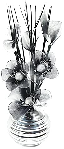 Flourish 705947 813 Silver Vase with Black and White Nylon Artificial Flowers in Vase, Fake Flowers, Ornaments, Small Gift, Home Accessories,
