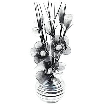 Flourish 705947 813 Silver Vase with Black and White Nylon Artificial Flowers in Vase, Fake Flowers, Ornaments, Small Gift, Home Accessories, 32cm