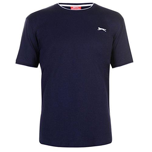 Slazenger Herren Tipped T Shirt Kurzarm Rundhals Tee Top Bekleidung Kleidung Blau3 L