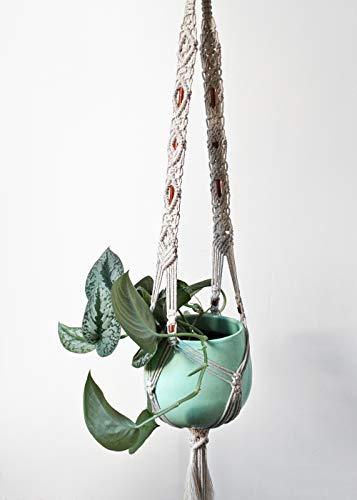 Makramee Blumenampel Anke groß mit Kupfer Aufhängung für Pflanzen Pflanzenampel big macramee plant hanger with copper