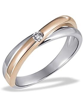 Goldmaid Damen-Ring Gold 585 Bicolor rot weiss 1 Brillant 0,05ct zwei Linien