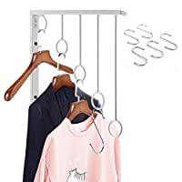 OKOMATCH Clothes Hanger Wall Mounted Clothing Organizer/Drying Rack/Garment Dispaly + 5Pcs Stainless Steel Hooks,Indoor & Outdoor Use,Heavy Duty