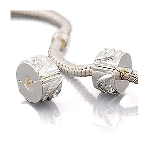 Andante-Stones Breloque en argent Clip stoppeur pour bracelet à Perles Européennes Avec pochette en organza