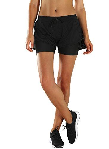 HAINES Pantaloncini Running Donna Shorts Sportivi 2 in 1 Pantaloncini per Palestra Fitness Yoga Calzoncini Sportivi Nero,L/XL