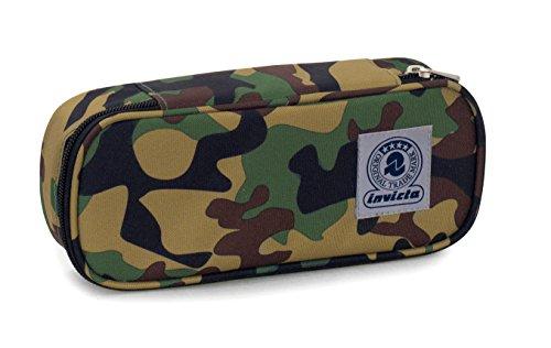 Bustina round plus invicta twist , fantasy , verde camouflage  , scomparto attrezzato per penne
