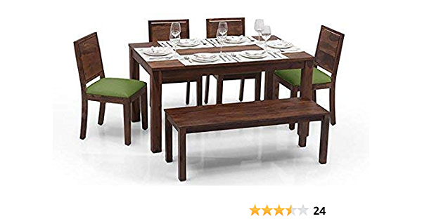 Monika Wood Furniture Sheesham Wood Dining Table 6 Seater Dinning Table With 4 Chairs Including Green Cushions Bench Dining Room Furniture Walnut Finish Amazon In Electronics