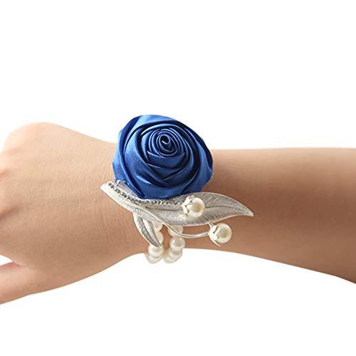 Yuanbbo Hand Flower Decor - Kleid Brautjungfer Handgelenk Corsage Blumen mit Perlen Hochzeit Armband Blume für Hochzeit Prom Party (Blumen-mädchen-kleider Elfenbein Gold)