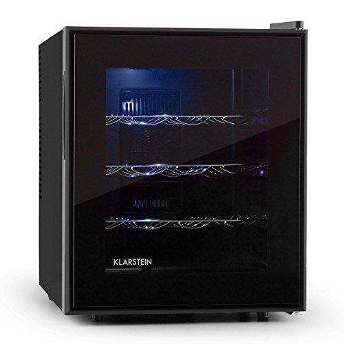 Klarstein Barolo cantinetta vino frigo minibar (3 ripiani in acciaio, 48 litri, 16 bottiglie, illuminazione interna LED, Classe A) - nero