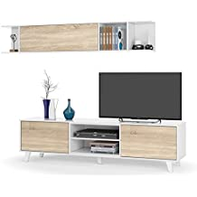 Habitdesign 0F6634BO - Mueble de salón comedor, módulo TV + estante, color Blanco Brillo y Roble Canadian, medidas: 180x54x41 cm de fondo