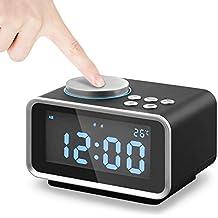 Reloj Despertador Digital Radio FM, Alarma Doble Eaiity con Puerto de Carga USB dual, Función de Repetición, Termómetro Interior y 6 Niveles de Brillo, Batería de Respaldo