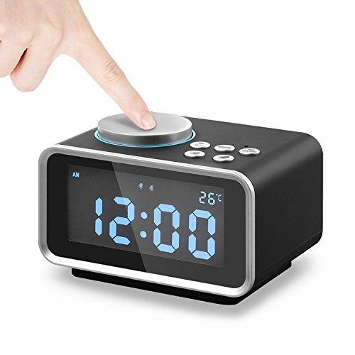 Digitaler Wecker, Eaiitty Radiowecker Digital Funk mit FM Radio | Dual-Alarm | Dual USB-Ladeanschluss | Schlummerfunktion | Innenthermometer | 6-stufige Helligkeit | Batterie-Sicherung | LED-Anzeige