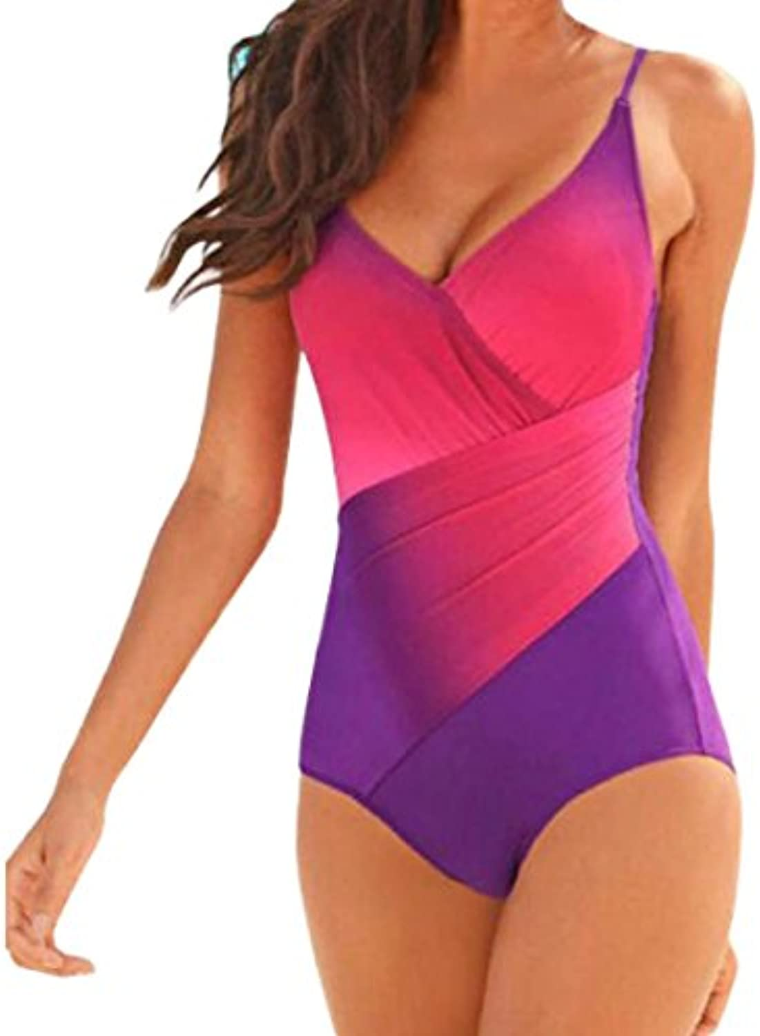 Ouneed Mujeres una pieza bikini Push-up acolchado Bra Multicolor Swimsuit