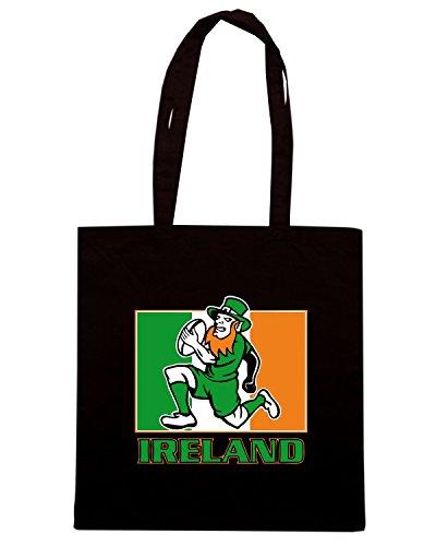 T-Shirtshock - Borsa Shopping TRUG0114 irish leprechaun rugby 2 logo Nero