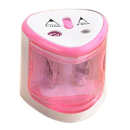 Delmkin Bleistiftspitzer Elektrischer Spitzmaschine mit Doppelspitzer für Den Gbrauch zu Hause oder Büro (Rosa)