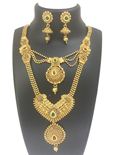 My Design Two In One Bridal Gold Plated Wedding Short Long Necklace Jewellery Set
