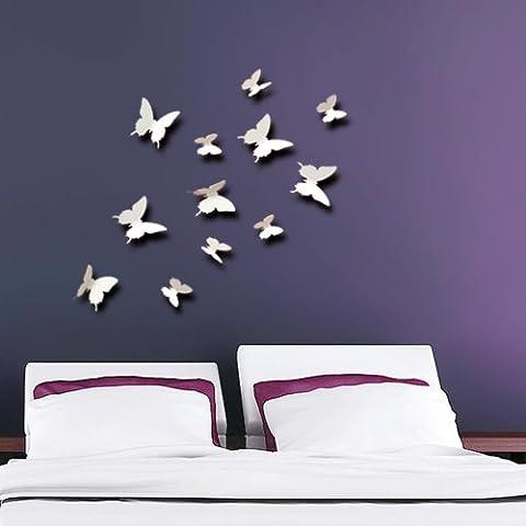 Walplus 3D Butterfly-White Sticker mural 3D en forme de papillon Blanc