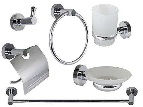Vetrineinrete® set bagno in acciaio cromato e vetro satinato 6 pezzi moderno accessori arredo bagno bianco 4100 p74