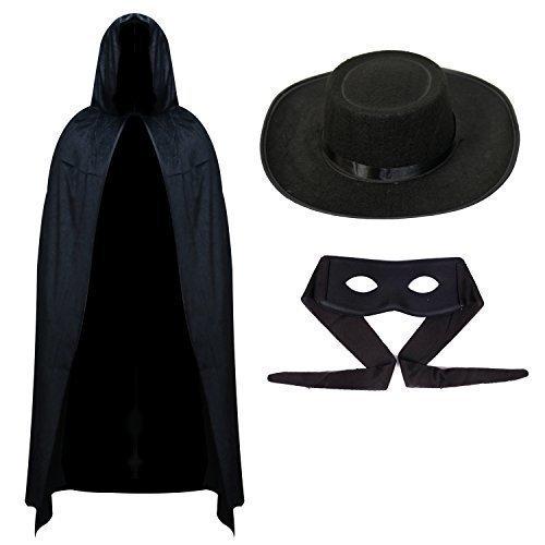 Herren Zorro Halloween Outfit - Umhang, Maske & Hut