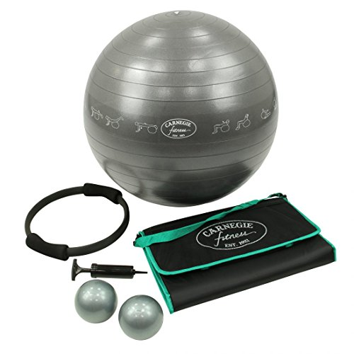 Carnegie Fitness Set Gymnastikball Pilates Ring Toning Ball Gewichtsbälle Yoga-Matte Pumpe - Komplett-Set für das tägliche Workout Fitness Training
