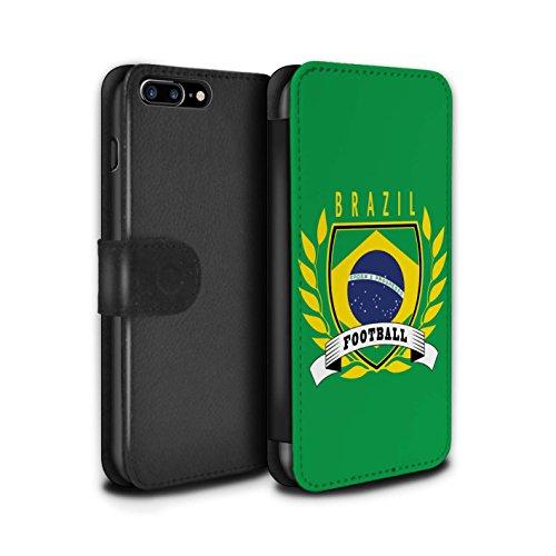 Stuff4 Coque/Etui/Housse Cuir PU Case/Cover pour Apple iPhone 8 Plus / Ecosse/écossaise Design / Emblème Football Collection Brésil/Brésilien