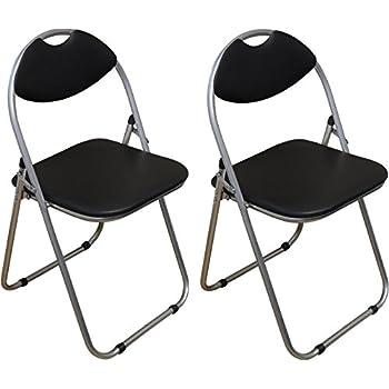 Harbour Housewares Black Padded Folding Desk Chair Pack Of 2