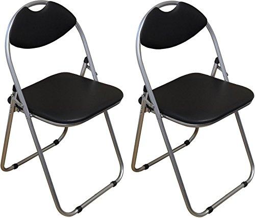 Chaise pliante rembourrée - pour le bureau - noir - lot de 2