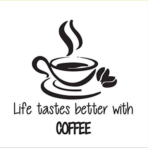Lkfqjd Leben Schmeckt Besser MitKaffee Wandaufkleber Zitate Eine Tasse Kaffee Wandtattoos Vinyl Aufkleber Für Küche 59 * 61 Cm