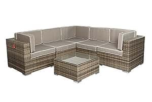 Poly Rattan Lounge XXL 6 teilig Gartenmöbel - 4-5 Sitze inkl. Kissen - Farbe: Grau braun meliert