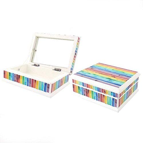 toutes les couleurs – arc-en-ciel mosaïque Boîte à bijoux – H : 18 x l : 13 x P : 6.5 cm